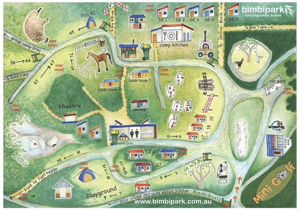 Bimbi Park Site Map